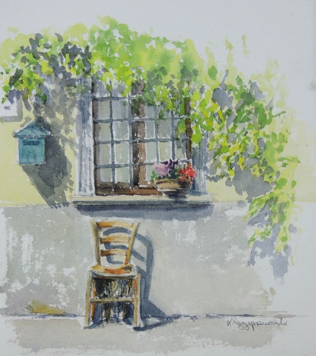 A window and chair in Genga - Painting,  30x28x0.2 cm ©2018 by Krystyna Szczepanowski -                                                                                                                    Figurative Art, Impressionism, Outsider Art, Realism, Architecture, Home, Places, Travel, plein air, italy, italian village, window, window and flowers, plein air painting, handmade paper, italian spirit, landscape