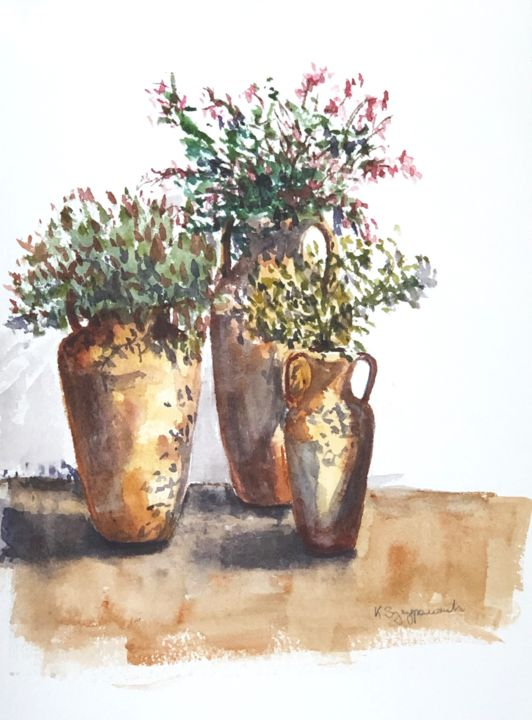 clay amphorae - plein air painting - Painting,  32x24x0.2 cm ©2019 by Krystyna Szczepanowski -                                                                                Documentary, Figurative Art, Illustration, Realism, Still life, clay amphorae, italy, fabriano, homemade paper, pottery, earthenware, still life
