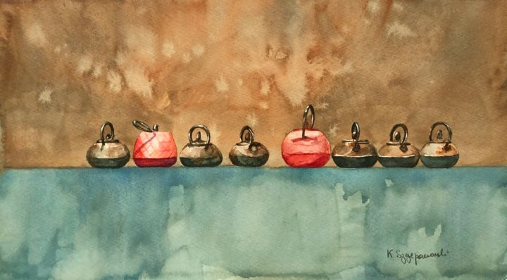 Tea time - Painting,  7.9x14.2 in, ©2020 by Krystyna Szczepanowski -                                                                                                                                                                                                                                                                                                                                                                                                                                                                                                                                                                                                                                      Figurative, figurative-594, Still life, kettles, japanese keetles, iron kettles, minimalist still life, in a row, tea time, brown and teal, kitchen decoration, still life with kettles, tea kettles
