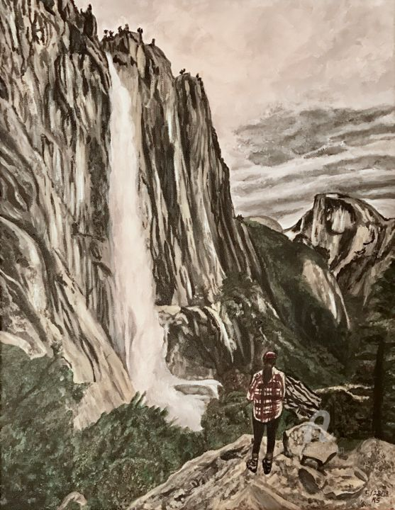 Escape To Yosemite - Painting,  18x14x0.75 cm ©2018 by KS Designs -                                                                                                                    Environmental Art, Expressionism, Photorealism, Realism, Landscape, Mountainscape, Nature, Water, Yosemite, waterfall, nature, wildlife, hiker, hiking, painting, half dome, landscape, moutains