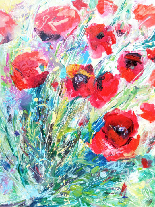 """Painting titled """"Poppies bouquet"""" by Kselma Randvald, Original Art, Oil"""