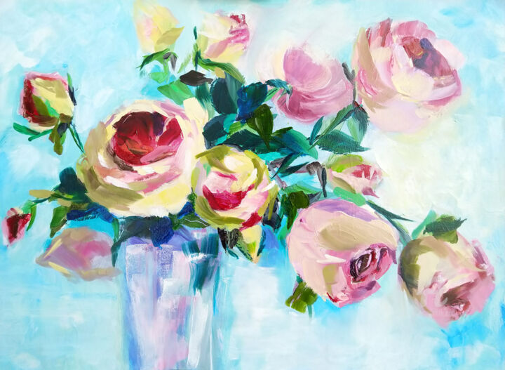 """Painting titled """"Roses on a blue bac…"""" by Kselma Randvald, Original Art, Oil"""