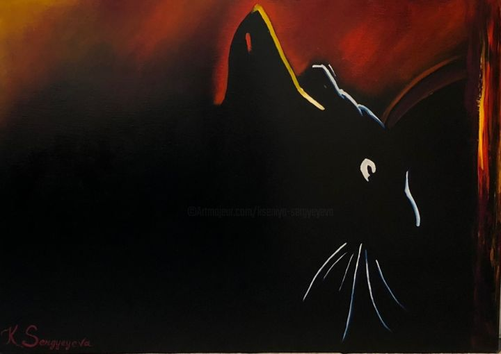 Cat - painting - Painting,  70x100x2 cm ©2017 by Kseniya Sergyeyeva -                                                                                Abstract Art, Art Deco, Figurative Art, Modernism, Cats, cat, black cat, black cat painting, buy painting online