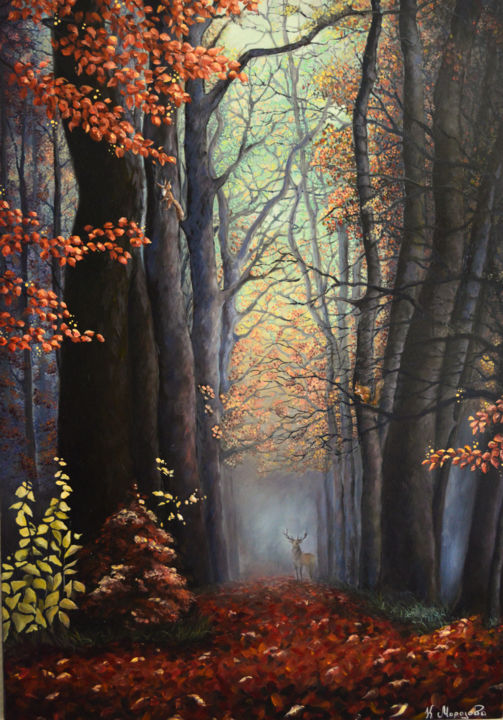 The living forest - Painting,  45.7x31.9x0.8 in ©2017 by Ksenya Morozova -                                                                                                        Figurative Art, Classicism, Land Art, Realism, Animals, Nature, Landscape, paysage, autome, cerf, animal, nature