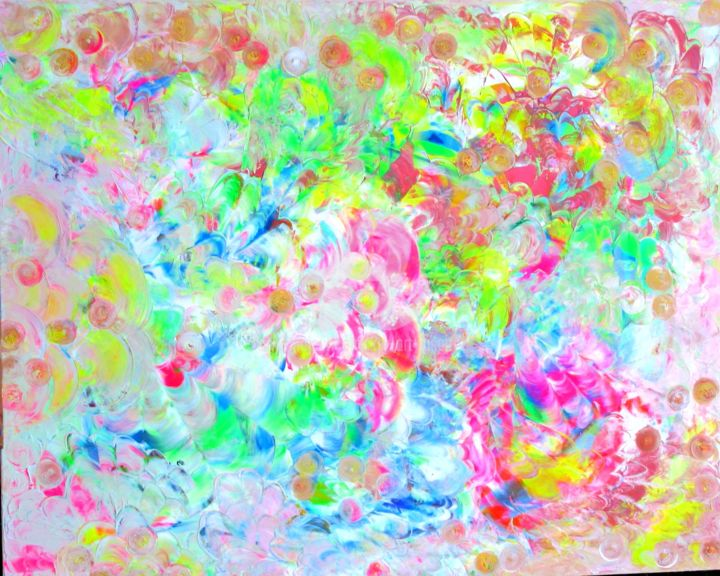 Fluorescence - Painting,  39.4x31.5x0.6 in, ©2015 by K.ty -                                                                                                                                                                          Abstract, abstract-570, Abstract Art