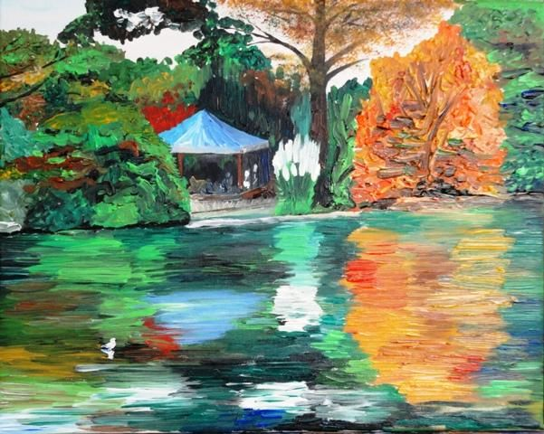 Parc Montsouris - Painting,  50x40 cm ©2011 by Sergey KUIMOV -            Parc Montsouris, Acrylique
