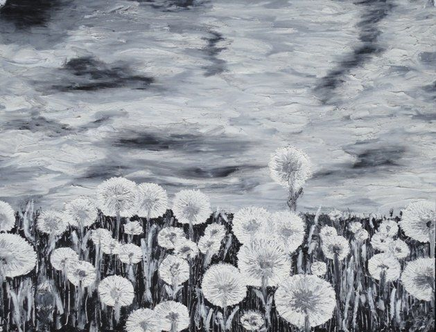 Taraxacum - Drawing,  50x65 cm ©2012 by Sergey KUIMOV -                            Black and White, Taraxacum