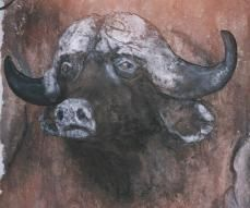Life-size Buffalo Sculpture in Cement - Painting, ©2006 by Kunda Kamwali Art Jeni Smithies -