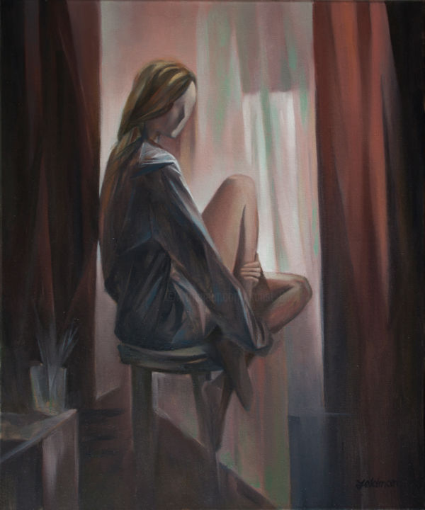 At a window - © 2019 nu, woman, art, one of a kind, handmade, hill, öriginal, oil on canvas Online Artworks
