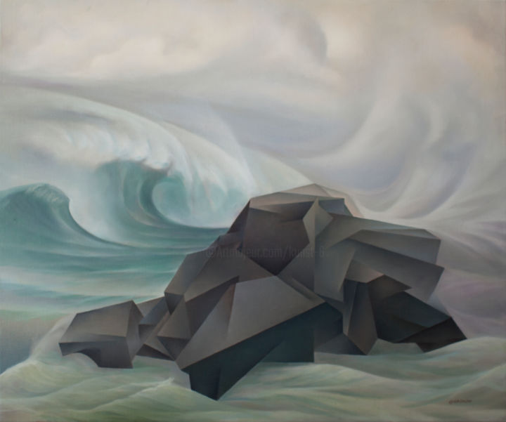 Stone and waves - Painting,  29.5x35.4x0.8 in, ©2019 by Isaac Feldman -                                                                                                                                                                                                                                                                                                                                                                                                                                                                                                                                              Figurative, figurative-594, Water, Seascape, Nature, waves, Stone, Marine, sea, wind, sky