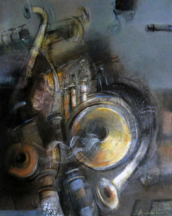 """Painting titled """"One-Man Band"""" by Kuntal Barai, Original Art, Acrylic Mounted on Stretcher frame"""