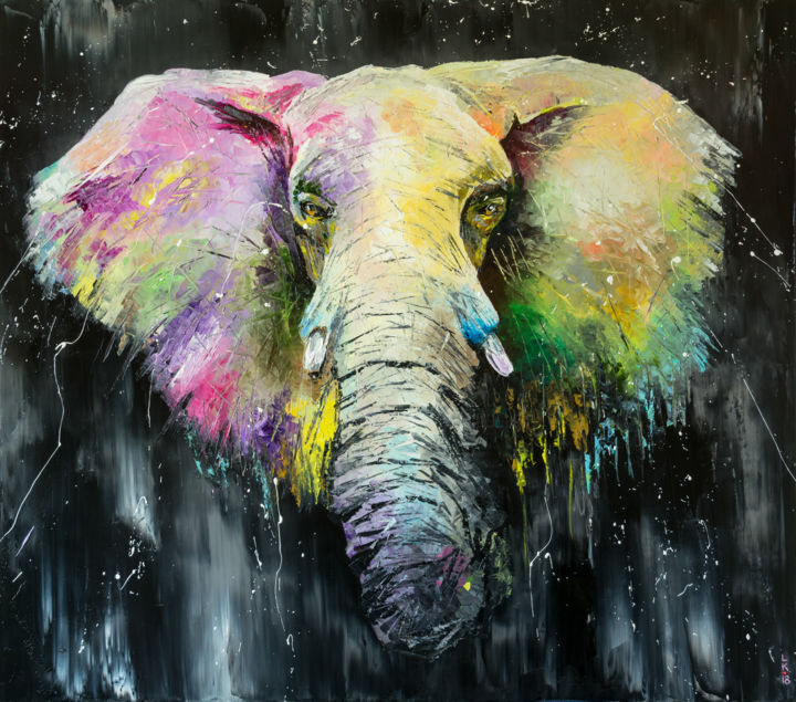 I'm the Elephant - Painting,  80x70x2 cm ©2018 by Liubov Kuptsova -                                                                        Impressionism, Canvas, Animals, Interiors, elephant, animals, big, colorful, black, background, original, artwork, kuptsova