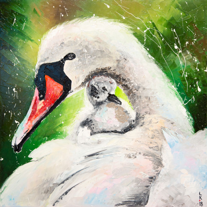 Mother's care (FRAMED) - Painting,  40x40x2 cm ©2018 by Liubov Kuptsova -                                                        Impressionism, Birds, Family, bird, mother, swan, baby, white, green, for gift, original, artwork, oil, painting, with frame