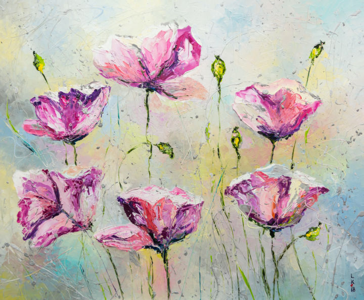 Purple poppies - © 2018 poppies, flowers, garden, purple, for interior, for home, oil painting, original artwork, free shipping Online Artworks
