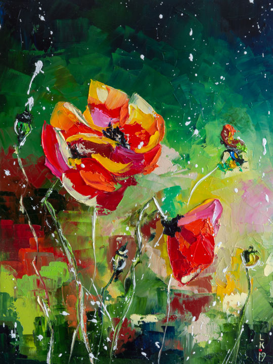 RED POPPIES - Painting,  40x30x2 cm ©2019 by Liubov Kuptsova -                                                        Impressionism, Canvas, Flower