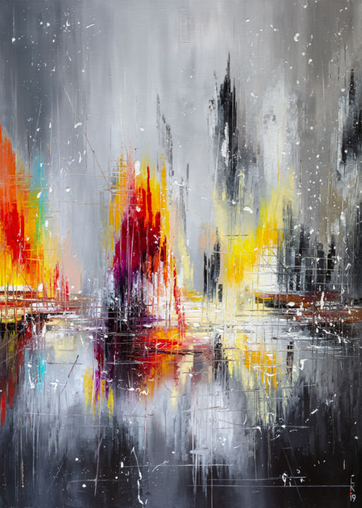 AFTER RAIN - Painting,  70x50x2 cm ©2019 by Liubov Kuptsova -                                                        Abstract Art, Abstract Art, Cityscape, oil on canvas, abstract painting, abstract cityscape, grey and orange, black and red, ready to hang, gift idea