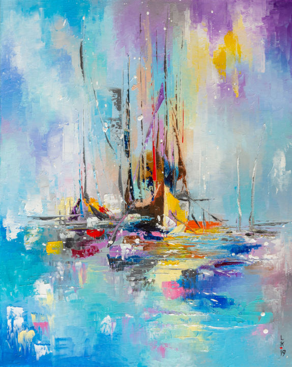BOATS IN THE MORNING MIST - © 2019 boats, sailboats, sailing, seaside, seascape, yellow and blue, textured oil painting Online Artworks
