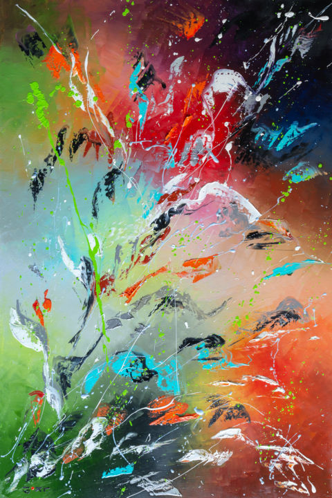 FLOWERS FLAME - Painting,  60x40x2 cm ©2019 by Liubov Kuptsova -                                            Abstract Art, Abstract Art, abstract, oil abstract painting, colorful abstract, gift idea, ready to hang