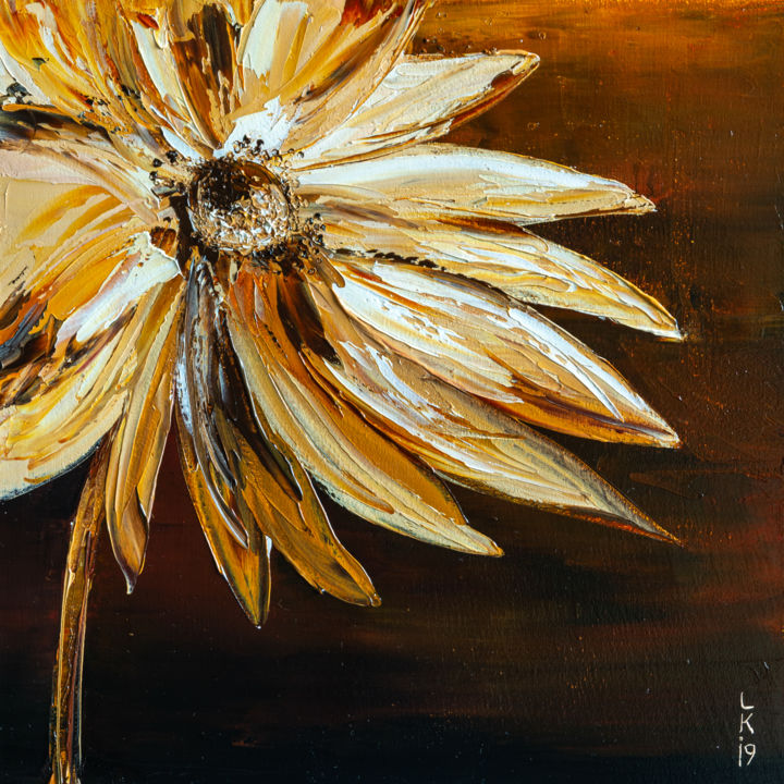 FLOWER IN SEPIA - Painting,  11.8x11.8x0.8 in, ©2019 by Liubov Kuptsova -                                                                                                                                                                                                                                                                                                                                                                                                                                                      Impressionism, impressionism-603, Flower, sepia, flower in sepia, brown flower, original oil painting, ready to hang, gift idea