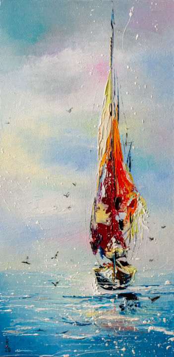Lonely sailboat - Painting,  15.8x7.9x0.8 in, ©2020 by Liubov Kuptsova -                                                                                                                                                                                                                                                                                                                                                                                                                                                                                                                                              Impressionism, impressionism-603, Sailboat, Seascape, sailing, sailboat, red sailboat, gift, ready to hang, seascape, seaside