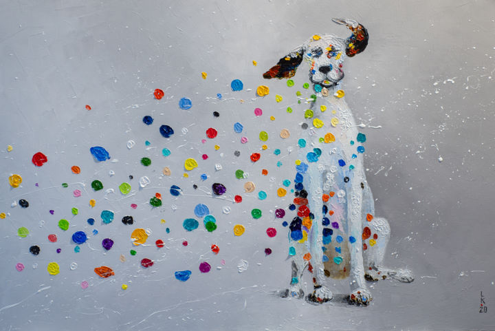 Blow me away! - Painting,  15.8x23.6x0.8 in, ©2020 by Liubov Kuptsova -                                                                                                                                                                                                                                                                                                                                                                                                                                                                                                                                              Surrealism, surrealism-627, Animals, artwork_cat.Dogs, dalmatian dog, dalmatian, funny dog, funny dalmatian, gift, ready to hang, for kids room