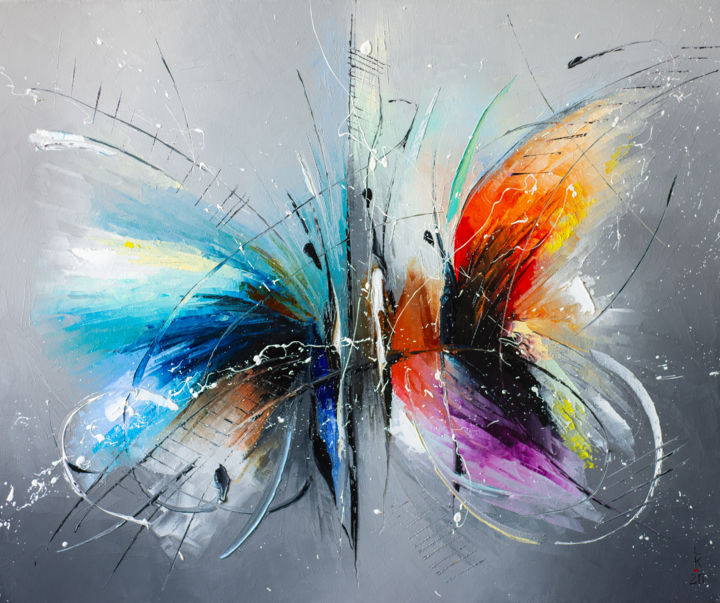 Butterflies date - Painting,  19.7x23.6x0.8 in, ©2020 by Liubov Kuptsova -                                                                                                                                                                                                                                                                                                                                                                                                                                                                                                                                              Abstract, abstract-570, Abstract Art, butterfly, butterflies, colorful  abstract, gift, ready to hang, for an interior, original painting, original art