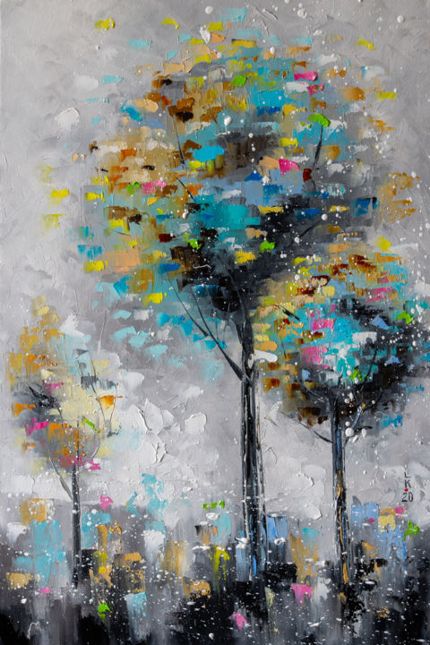 Three trees - Painting,  23.6x15.8x0.8 in, ©2020 by Liubov Kuptsova -                                                                                                                                                                                                                                                                                                                                                                                                                                                      Abstract, abstract-570, Tree, trees, gift, ready to hang, abstract trees, for an interior, oil art