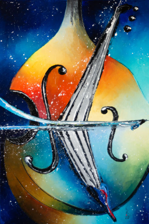 Double bass - Painting,  23.6x15.8x0.8 in, ©2020 by Liubov Kuptsova -                                                                                                                                                                                                                                                                                                                                                                                                                                                      Abstract, abstract-570, Music, music, double bass, gift, ready to hang, jazz, blue and orange