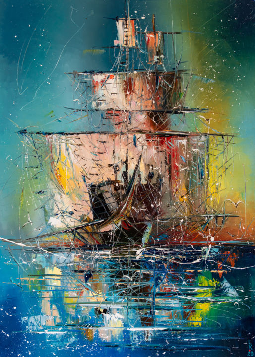 Ghost ship 2 - Painting,  27.6x19.7x0.8 in, ©2020 by Liubov Kuptsova -                                                                                                                                                                                                                                                                                                                                                                                                                                                                                                                                                                                                                                                                                                                              Impressionism, impressionism-603, Sailboat, Seascape, Ships, Travel, Yacht, sailing, sailboat, gift idea, seascape, ship, yacht, ready to hang, sail boat