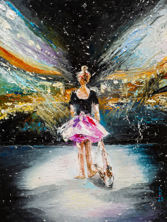 Dreams about scene - Painting,  15.8x11.8x0.8 in, ©2020 by Liubov Kuptsova -                                                                                                                                                                                                                                                                                                                                                                                                          Impressionism, impressionism-603, People, girl, dreams, ballerina, woman, oil painting