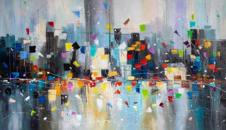 Big Apple dreamin' - Painting,  27.6x47.2x0.8 in, ©2021 by Liubov Kuptsova -                                                                                                                                                                                                                                                                                                                                                                                                      Abstract, abstract-570, new york, abstract cityscape, for an interior, colorful abstract, large abstract painting, new york city