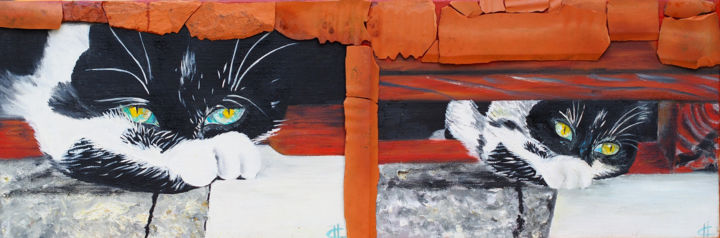 """Painting titled """"Riri chat"""" by Hélène Chevallier, Original Art, Oil Mounted on Stretcher frame"""