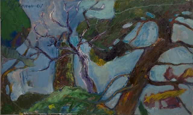 The trees - Painting,  50x80 cm ©2012 by Gagik Kurginyan -                            Contemporary painting, Painting of a landscape with trees on a background of blue sky