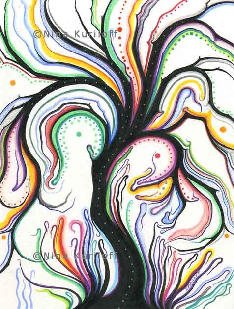 Black Tree with Rainbow Color - Drawing,  8x6 in, ©2019 by Nina Kuriloff -                                                                                                                                                                                                                                                                                                                                                                                                                                                                                                                                              Abstract, abstract-570, Nature, Tree, colorful, trees, abstract, surreal, fantasy, drawing, pens on paper