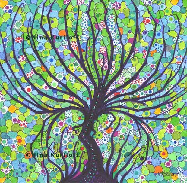Leafy Tree - Drawing,  6x6 in, ©2019 by Nina Kuriloff -                                                                                                                                                                                                                                                                                                                                                                                                                                                                                                                                                                                                                                      Abstract, abstract-570, Abstract Art, Nature, Tree, green, tree, fantasy, surreal, nature, colored pencils, pens, paper