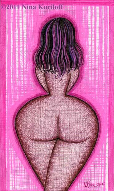 Painting,  5.25 x 9 in ©2011 by Nina Kuriloff -  Painting, Nudes in Art, nude erotic drawing artwork African-American Black woman female pink BBW