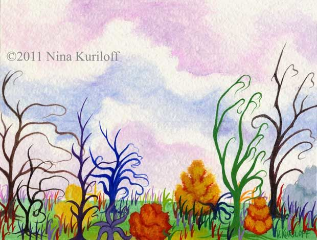 Landscape with Delicate Trees - Painting,  8x6 cm ©2011 by Nina Kuriloff -                            Abstract Art, landscape sky clouds painting colorful trees plants gouache watercolor