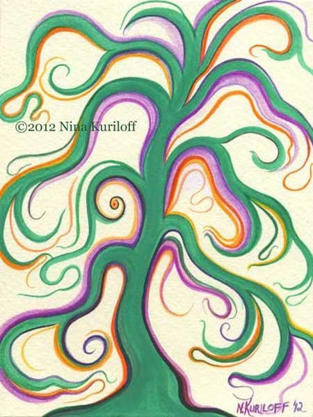 Mellow Green Tree - Painting,  8x6 in ©2012 by Nina Kuriloff -                            Contemporary painting, tree green imaginary fantasy painting gouache watercolor