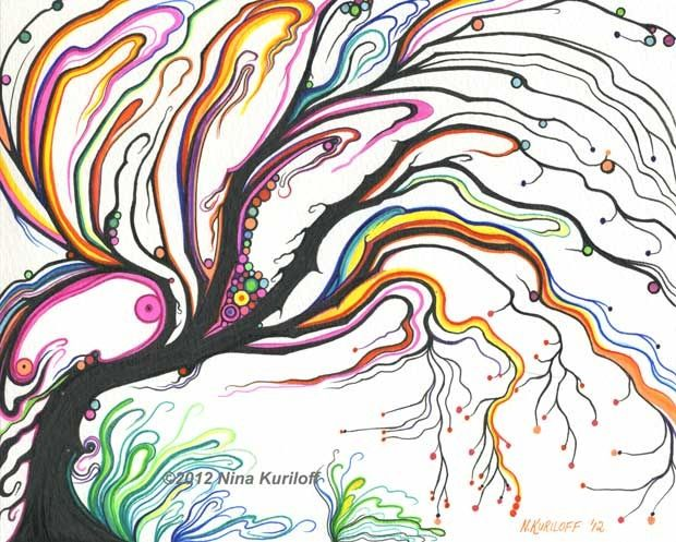 Psychedelic Tree with Dots - Painting,  8x10 in ©2012 by Nina Kuriloff -            tree imaginary abstract psychedelic colorful colourful drawing artwork