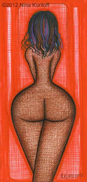 Beautiful Nude Woman with Brown Skin in Red - Painting,  4x9.5 in ©2012 by Nina Kuriloff -                            Nude, Black brown skin African American Nude Naked Red beautiful figure figurative
