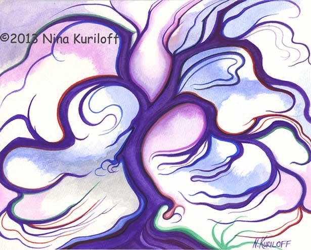 Purple Expression - Painting,  8x10 in ©2013 by Nina Kuriloff -                                                            Abstract Art, Paper, Tree, painting purple tree fantasy abstract