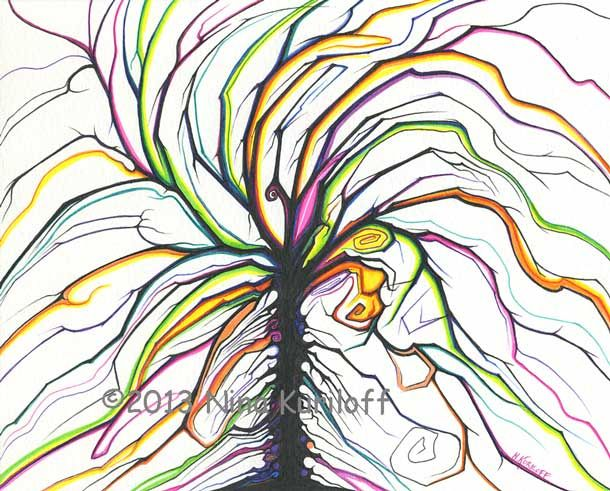 Swaying Branches - Painting,  8x10 in ©2013 by Nina Kuriloff -                            Abstract Art, tree, plants, fantasy
