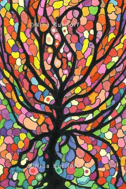 Tree Jewels - Drawing,  6x4 in ©2013 by Nina Kuriloff -                                                            Abstract Art, Paper, Abstract Art, tree, abstract, colorful, stained glass