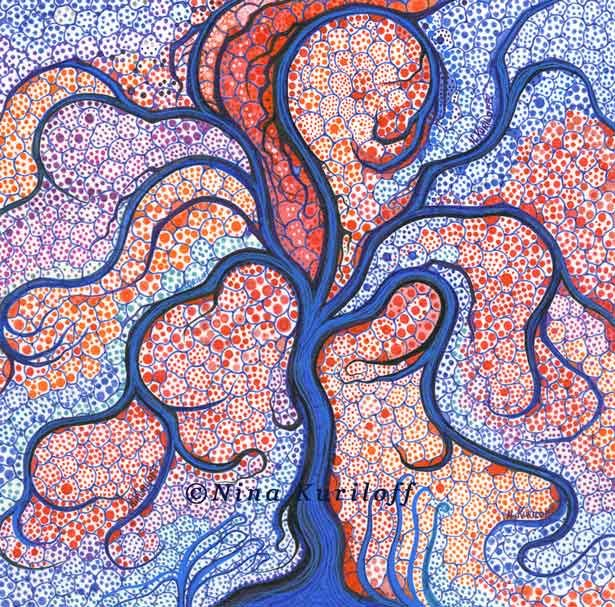 Tree Surrounded by Dots V - Drawing,  8x8 in ©2015 by Nina Kuriloff -                                                            Abstract Art, Paper, Tree, tree, surreal, blue, red, drawing, psychedelic