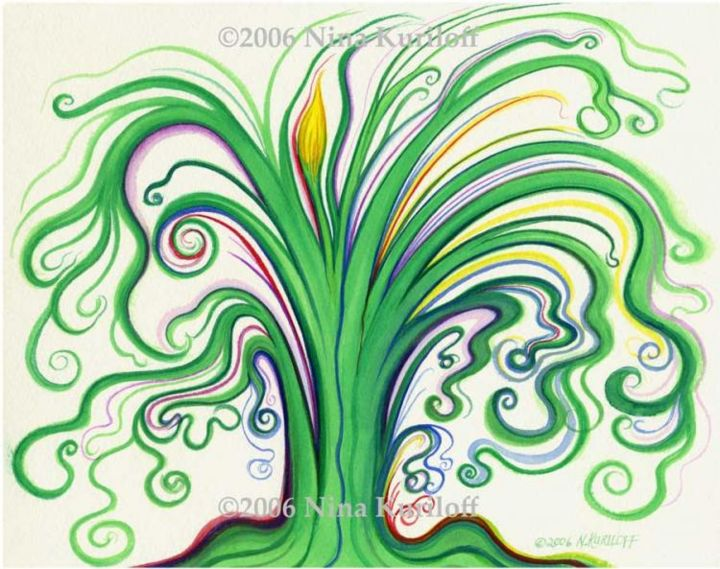 The Yellow in the Tree - Painting,  8.5x10.5 in ©2006 by Nina Kuriloff -                            Contemporary painting, tree green abstract contemporary pop