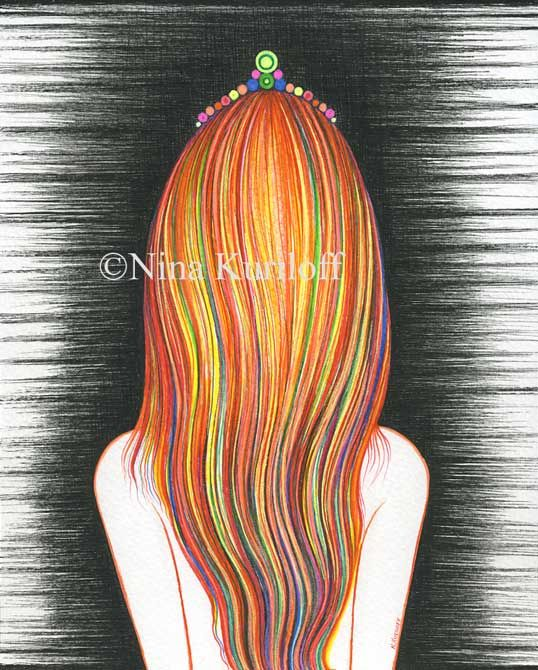 My Multicolored Hair - Drawing,  10x8 in ©2017 by Nina Kuriloff -                                                        Expressionism, Figurative Art, Portraits, redhead, woman, female, long hair, figurative, expressionism, stylized, drawing