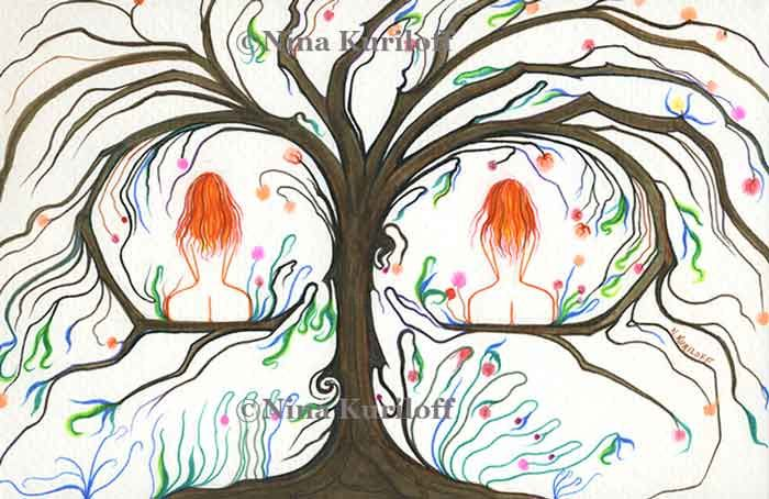 Twins - Drawing,  5.5x8.5 in ©2017 by Nina Kuriloff -                                                            Modernism, Paper, Nude, nudes, redhead, women, female, tree, erotic