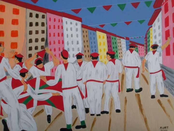 baiona bestak - Painting,  15.8x19.7 in, ©2014 by Didier Dordeins -                                                                                                                                                                                                                                                                                                                                                                                                          Naive Art, naive-art-948, World Culture, pays-basque, bayonne, festayres, ville, rue