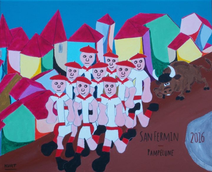 San Fermin , Pampelune 2016 - Painting,  15.8x19.7 in, ©2016 by Didier Dordeins -                                                                                                                                                                                                                                                                                                                                                                                                                                                                                                  Naive Art, naive-art-948, World Culture, tableau, naif, pays-basque, san fermin, pampelune, euskadi, fêtes
