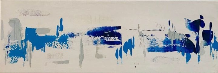 Vie - Painting,  5.9x23.6x0.6 in, ©2019 by Jana KUZMI -                                                                                                                                                                                                                                                                                                                                                                                                          Abstract, abstract-570, Cityscape, vie, gens, evolution, ville, vivre